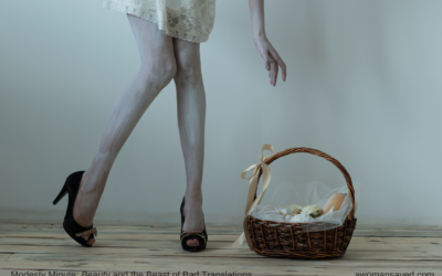 Modesty Minute: Beauty and the Beast of Bad Translations (Image: Gaunt woman's legs shown as she reaches for a basket.)