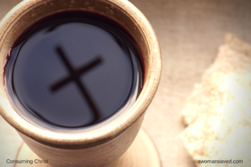 Consuming Christ - (Image: Communion cup of wine with unleavened bread)